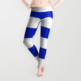 Cobalt Blue and White Wide Cabana Tent Stripe Leggings