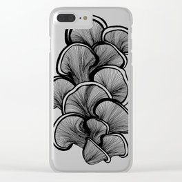 Mushrooms in black and white Clear iPhone Case