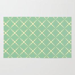 Green yellow geometrical diamond polka dots pattern Rug