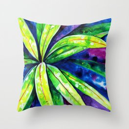 Croton - Tropical Leaves Throw Pillow