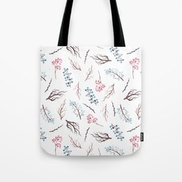 Hand painted winter blue pink watercolor floral Tote Bag