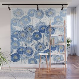 blue indigo dandelion pattern watercolor Wall Mural