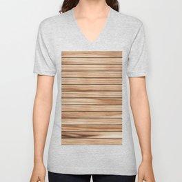 Nice Brown Wood Blend Pattern Unisex V-Neck