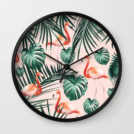 Tropical Flamingo Pattern #2 #tropical #decor #art #society6 Wall Clock