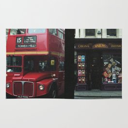 Red bus and a candy store - London Rug