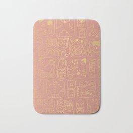 Mayan glyphs - rosegold palette Bath Mat