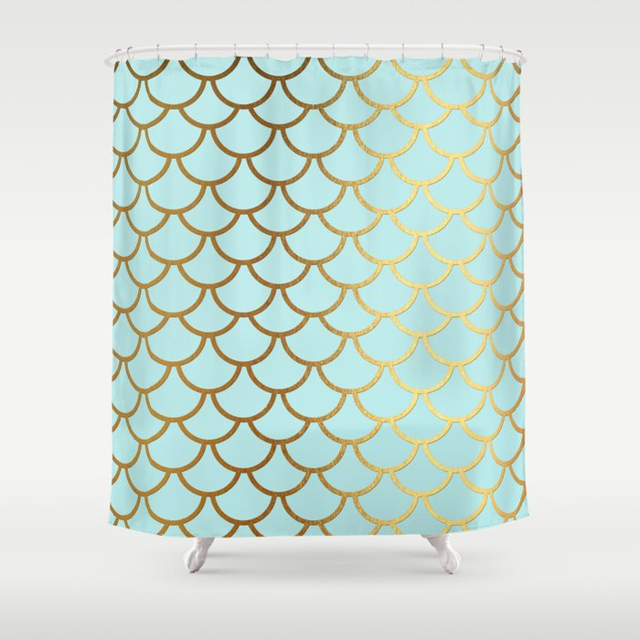 Attractive Aqua Teal And Gold Foil MermaidScales   Mermaid Scales Shower Curtain
