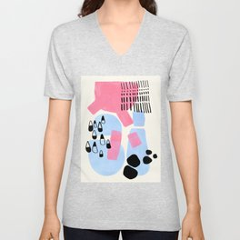 Fun Colorful Abstract Mid Century Minimalist Pink Periwinkle Cow Udder Milk Organic Shapes Unisex V-Neck