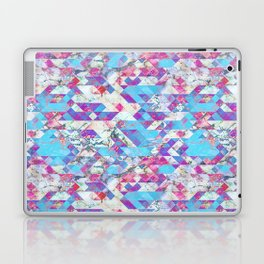 Blue magenta marble grungy triangles Laptop & iPad Skin