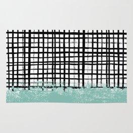Mila - handpainted grid lines crosshatch weave with mint sage stripe minimalist nursery Rug