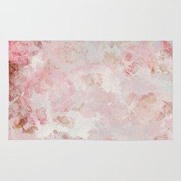 Vintage Floral Rose Roses painterly pattern in pink Rug