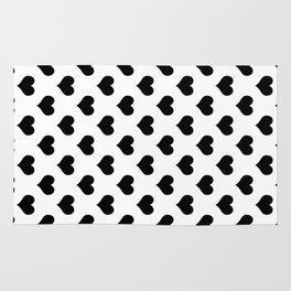 White Black Heart Minimalist Rug