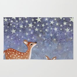 whitetail fawns under the stars Rug