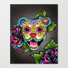 Smiling Pit Bull in Fawn - Day of the Dead Pitbull Sugar Skull Canvas Print