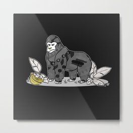 Gorilla & Bananas,Funny Wild Animal Graphic,Black & White with Brass Gold Metallic Accent Cartoon Metal Print