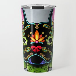 French Bulldog in Black - Day of the Dead Bulldog Sugar Skull Dog Travel Mug
