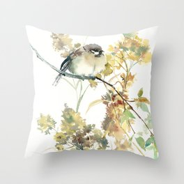 Sparrow and Dry Plants Throw Pillow
