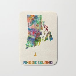 Rhode Island Watercolor Map Bath Mat