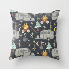 Airstream Camping Throw Pillow