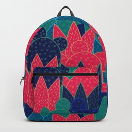 Cactus field at night Backpack