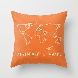 Adventure Map - Retro Orange Throw Pillow