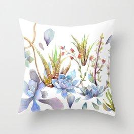 A Succulent Mixture Botanical Design Throw Pillow