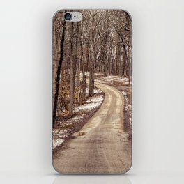 road through the woods iPhone Skin