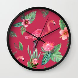 Pink flamingo , palm leaves, protea and hibiscus painted in watercolor Wall Clock