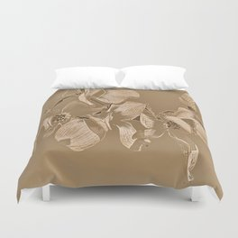 Dogwood Tree Flowers (sepia-light) Duvet Cover