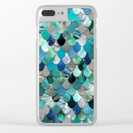Mermaid Sea, Teal, Aqua, Silver, Grey Clear iPhone Case