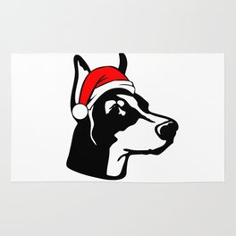 Doberman Dog with Christmas Santa Hat Rug