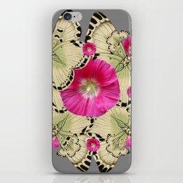 BLACK PATTERN BUTTERFLIES PINK HOLLYHOCKS ART iPhone Skin