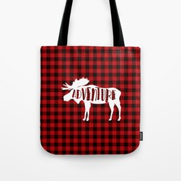 Red Buffalo Plaid Moose ADVENTURE typography Tote Bag