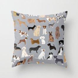 Mixed Dog lots of dogs dog lovers rescue dog art print pattern grey poodle shepherd akita corgi Throw Pillow