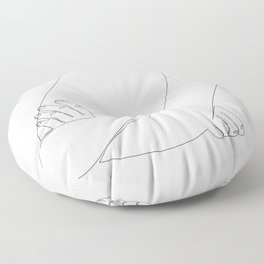 X-Arms - one line woman's crossed arms art Floor Pillow