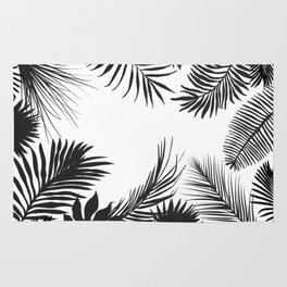 Black And White Palm Leaves Rug