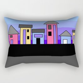 Pastel Evening Houses Rectangular Pillow