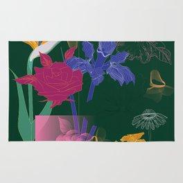 Dark Fall Flower Pattern for Home Goods Emerald Green Magenta Rug