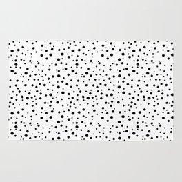 PolkaDots-Black on White Rug