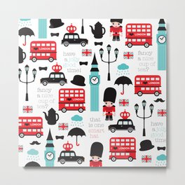 London icons illustration pattern print Metal Print