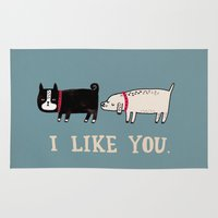 school Area & Throw Rugs featuring I Like You. by gemma correll