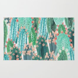 Colorful watercolor cacti Rug