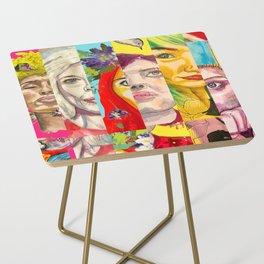 Female Faces Portrait Collage Design 1 Side Table