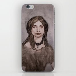 Watercolor Portrait of a Victorian Woman Wearing a Cross Necklace iPhone Skin