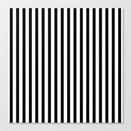 Black & White Small Vertical Stripes - Mix & Match with Simplicity of Life Canvas Print