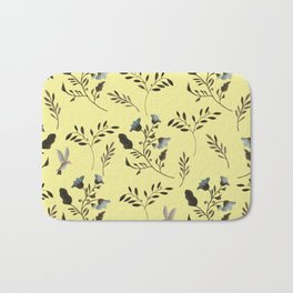 Butter Yellow and Bluebells and Bluebirds Floral Pattern Flowers in Blue and Bark Brown Bath Mat
