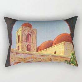 vintage 1920s Palermo Sicily Italian travel ad Rectangular Pillow