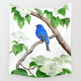 Royal Blue-Indigo Bunting in the Dogwoods by Teresa Thompson Wall Tapestry