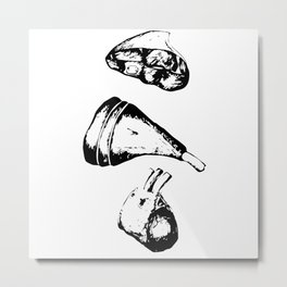 A piece of meat, black and white mascara Metal Print