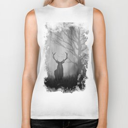 Black and White Stag Silhouette Biker Tank